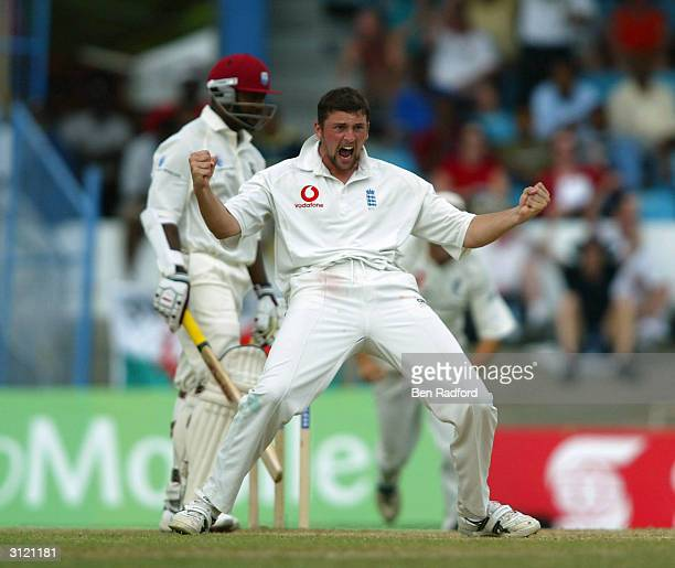 Steve Harmison of England takes the wicket of West Indies Captain Brian Lara during the Cable and Wireless 2nd Test match between West Indies and...