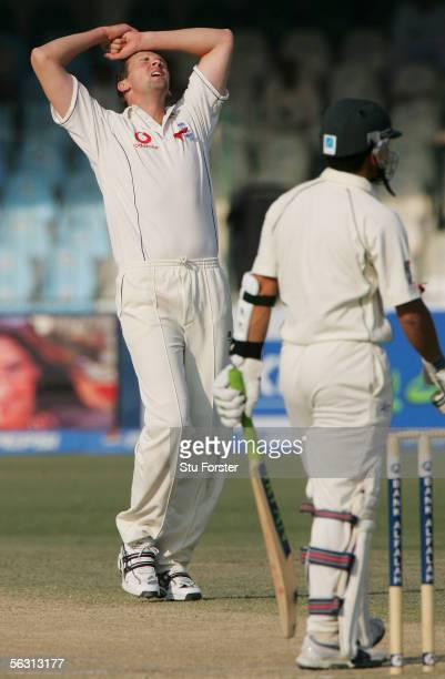 Steve Harmison reacts after a near miss for Pakistan batsman Kamran Akmal during the Third Day of the Third and Final Test Match between Pakistan and...
