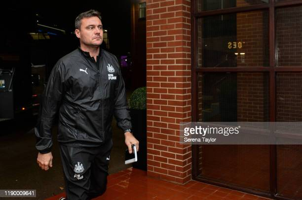 Steve Harper arrives for his first match as Newcastle United First Team Coach at the Premier League match between Aston Villa and Newcastle United at...