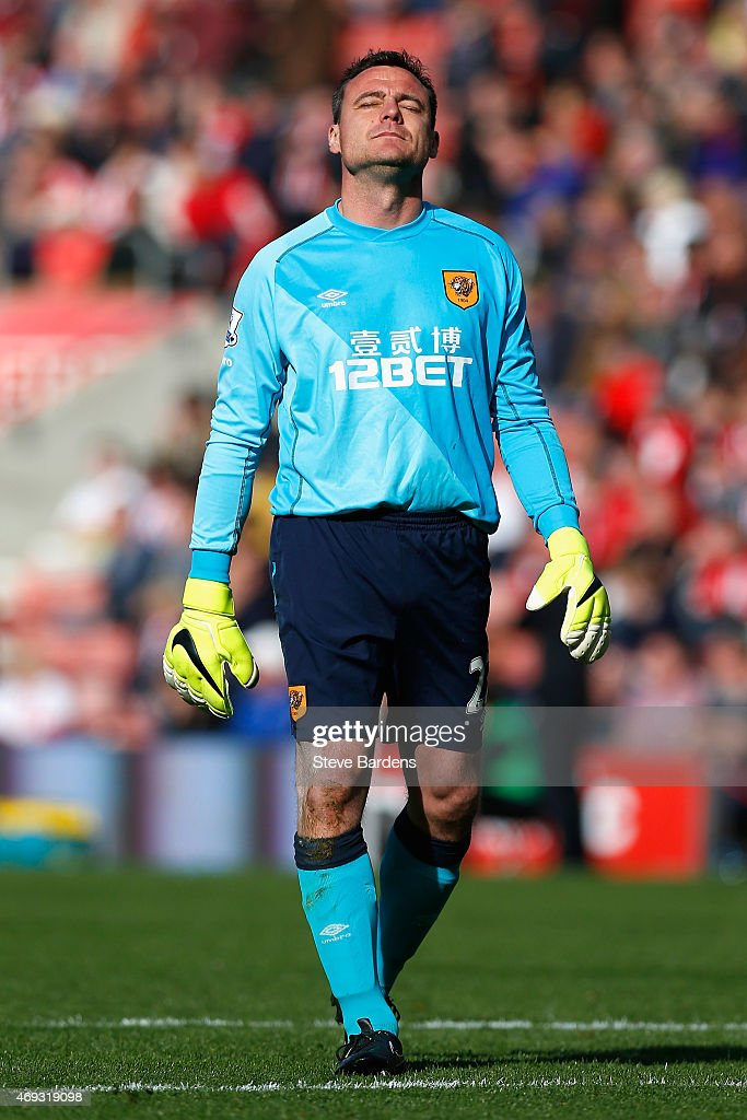 Steve Harper of Hull City looks dejected during the Barclays Premier League match between Southampton and Hull City at St Mary's Stadium on April 11, 2015 in Southampton, England.