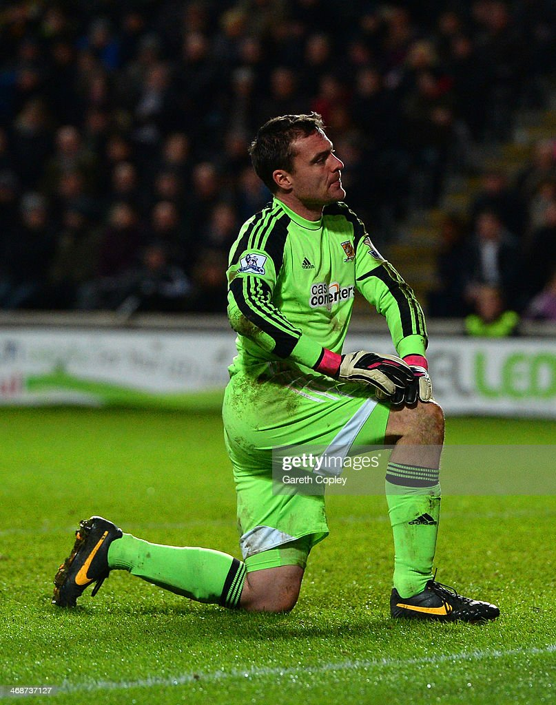 Steve Harper of Hull City reacts during the Barclays Premier League match between Hull City and Southampton at the KC Stadium on February 11, 2014 in Hull, England.