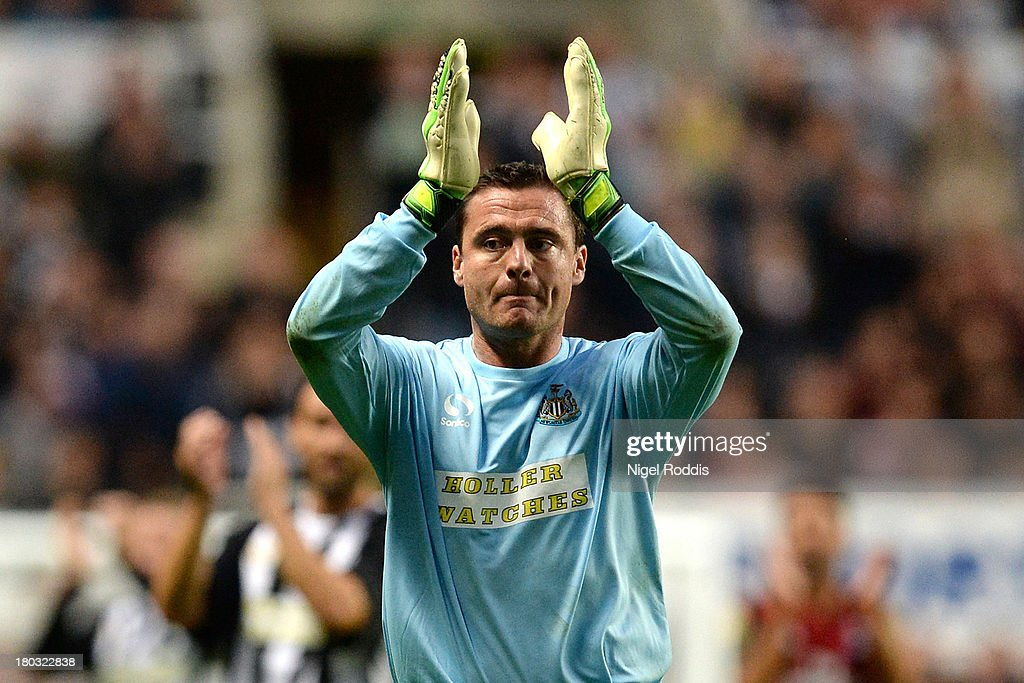Steve Harper of Newcastle United gestures to the fan's during his testimonial match between Newcastle United and AC Milan Glorie at St James' Park on September 11, 2013 in Newcastle upon Tyne, England.