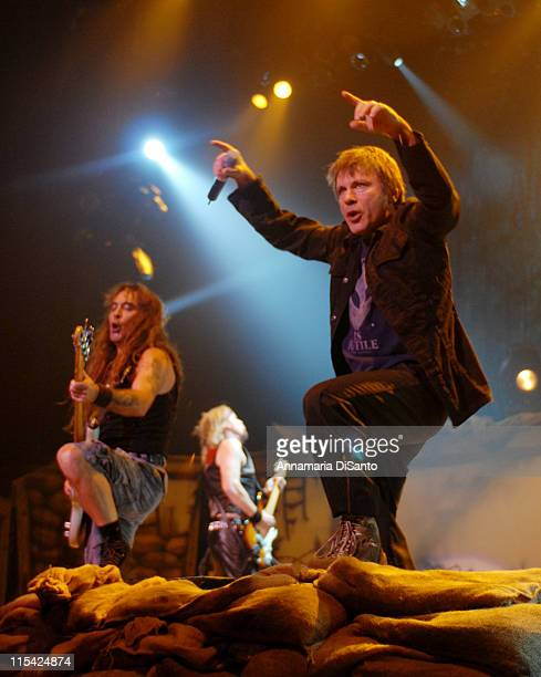 Steve Harris and Bruce Dickinson of Iron Maiden during Iron Maiden in Concert at the Bell Centre in Montreal October 10 2006 at Bell Centre in...