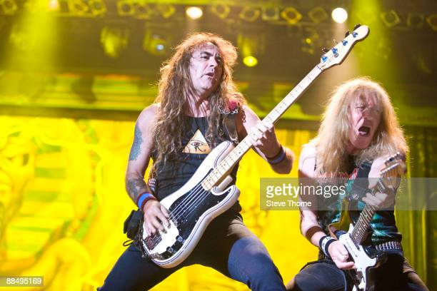 Steve Harris and Janick Gers from Iron Maiden performing live at the Sziget Music Festival Budapest Hungary on August 12 2008