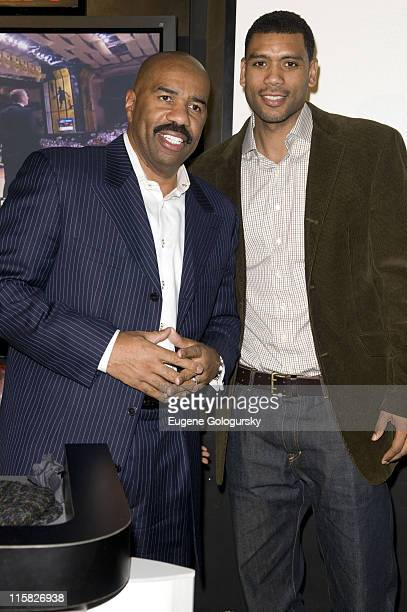 Steve Harvey and Allan Houston attend The ESPN Zone Black History Month celebration on February 27 2008 in New York City