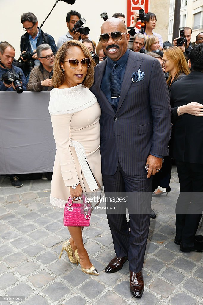 Steve Harvey and his wife Marjorie attend the Christian Dior show as part of the Paris Fashion Week Womenswear Spring/Summer 2017 on September 30, 2016 in Paris, France.