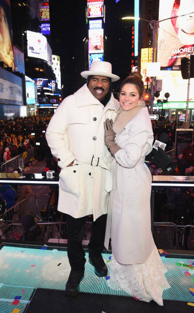 Steve Harvey L And Maria Menounos Pose After Her Wedding Ceremony During