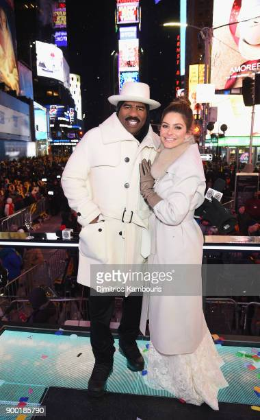 Steve Harvey and Maria Menounos pose after her wedding ceremony during Maria Menounos and Steve Harvey Live from Times Square at Marriott Marquis...