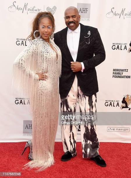 Steve Harvey and Marjorie Elaine Harvey arrive at the WACO Theater Center's 3rd Annual Wearable Art Gala at The Barker Hangar at Santa Monica Airport...