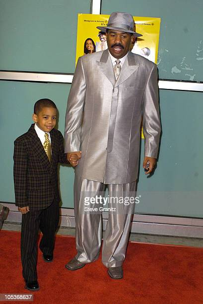 Steve Harvey and son Wynton during Johnson Family Vacation Los Angeles Premiere at Cinerama Dome in Hollywood California United States