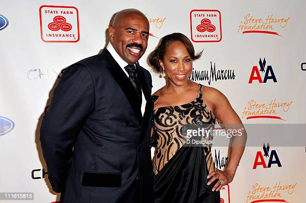 Steve Harvey and wife Marjorie Harvey attend the 2nd annual Steve Harvey Foundation gala at Cipriani Wall Street on April 4 2011 in New York City