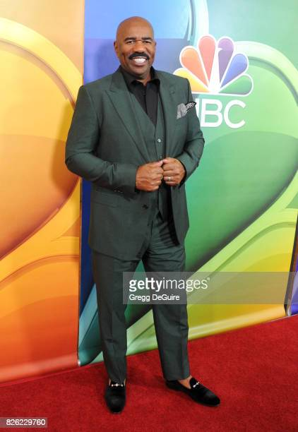 Steve Harvey arrives at the 2017 Summer TCA Tour NBC Press Tour at The Beverly Hilton Hotel on August 3 2017 in Beverly Hills California