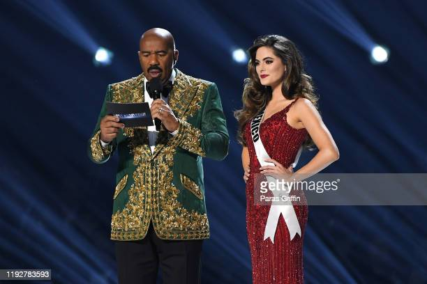 Steve Harvey interviews Miss Mexico Sofía Aragón onstage at the 2019 Miss Universe Pageant at Tyler Perry Studios on December 08, 2019 in Atlanta,...