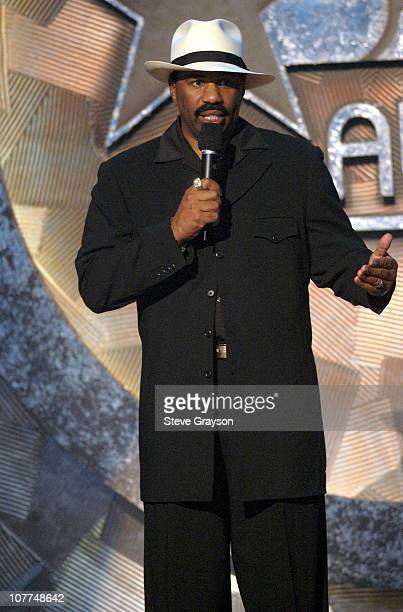 Steve Harvey introduces James Brown's performance during The 3rd Annual BET Awards Show at The Kodak Theater in Hollywood California United States