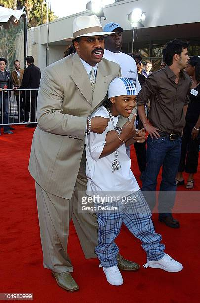 Steve Harvey Lil' Bow Wow during The 16th Annual Soul Train Music Awards Arrivals at LA Sports Arena in Los Angeles California United States