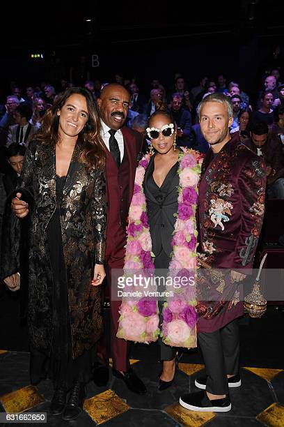 Steve Harvey Marjorie Bridges and Guilherme Siqueira attend the Dolce Gabbana show during Milan Men's Fashion Week Fall/Winter 2017/18 on January 14...