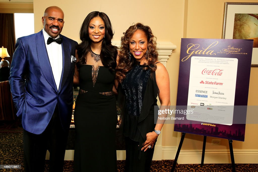 Steve Harvey, Michelle Relerford of NBC Chicago, and Marjorie Harvey attend the 2014 Steve & Marjorie Harvey Foundation Gala presented by Coca-Cola VIP Reception at the Hilton Chicago on May 3, 2014 in Chicago, Illinois.