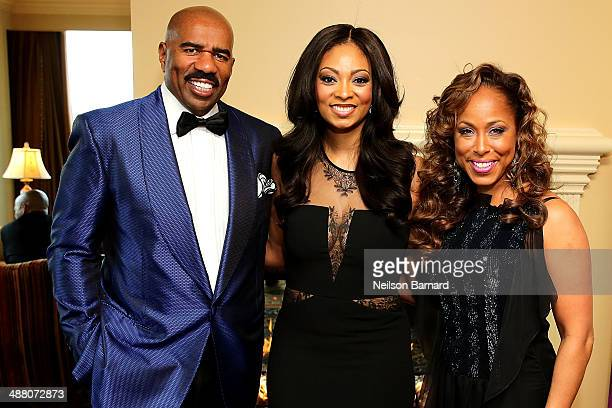 Steve Harvey Michelle Relerford of NBC Chicago and Marjorie Harvey attend the 2014 Steve Marjorie Harvey Foundation Gala presented by CocaCola VIP...