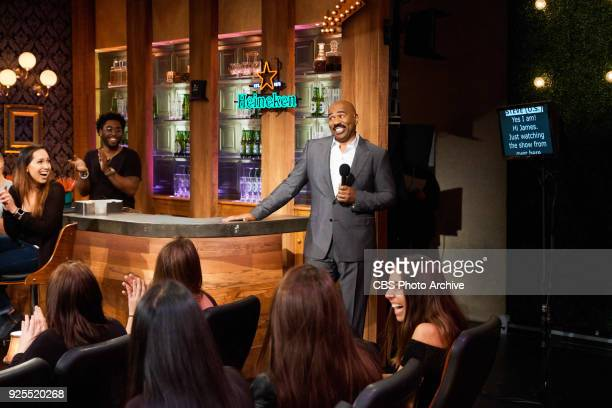 Steve Harvey performs in a sketch with James Corden during The Late Late Show with James Corden Thursday February 22 2018 On The CBS Television...