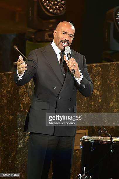Steve Harvey speaks on stage at the UNICEF launch of the #IMAGINE Project to celebrate the 25th Anniversary of the rights of a child at United...