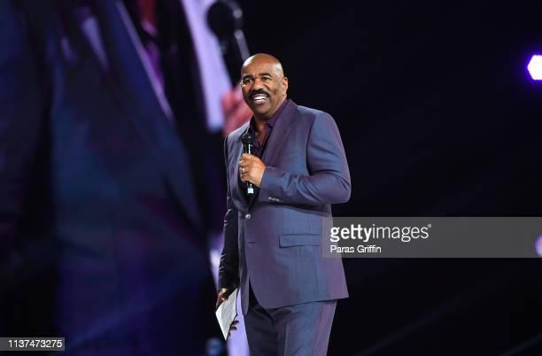 Steve Harvey speaks onstage during 2019 Beloved Benefit at MercedesBenz Stadium on March 21 2019 in Atlanta Georgia