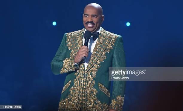 Steve Harvey speaks onstage during 2019 Miss Universe Pageant at Tyler Perry Studios on December 08, 2019 in Atlanta, Georgia.