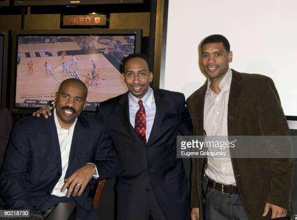 Steve Harvey Stephen A Smith and Allan Houston attend The ESPN Zone Black History Month celebration on February 27 2008 in New York City