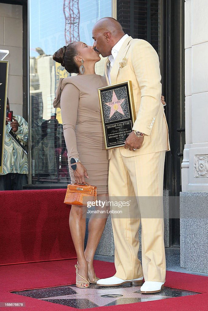 Steve Harvey with his wife, Marjorie Bridges attend the ceremony honoring Steve Harvey with a Star on The Hollywood Walk of Fame held on May 13, 2013 in Hollywood, California.