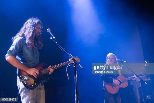 Steve Hassett and Zoe Randell of Australian indie folk music duo Luluc perform live on stage at Usher Hall on September 20 2017 in Edinburgh Scotland