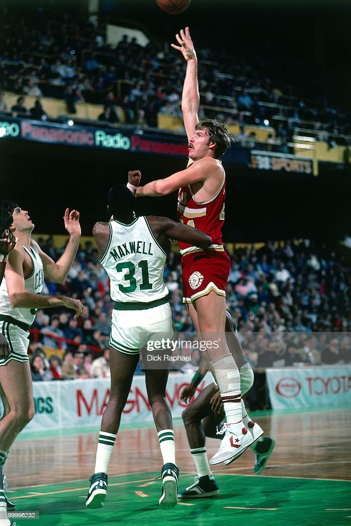 Steve Hayes #41 of the Cleveland Cavaliers shoots against Cedric Maxwell #31 of the Boston Celtics during a game played in 1983 at the Boston Garden in Boston, Massachusetts.