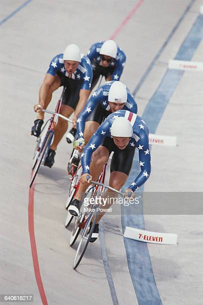 Steve Hegg Leonard Nitz David Lettieri and Carl Sundqvist of the United States team during the 4000m Team Pursuit race during the World Cycling...