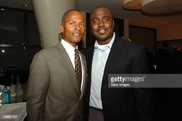 Steve Hocker and Marshall Faulk pose during the VIP reception for the 2007 NFL Players Gala featuring the JB Awards on April 11 in Washington DC