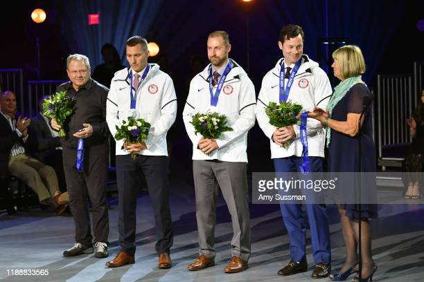 Steve Holcomb Christopher Fogt Curtis Tomasevicz Steven Langton and Jean Schaefer speak onstage during the 2019 Team USA Awards at Universal Studios...
