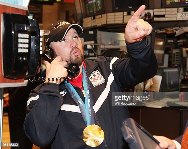 Steve Holcomb pilot of the gold medal winning United States fourman bobsled team visits the New York Stock Exchange on March 30 2010 in New York City