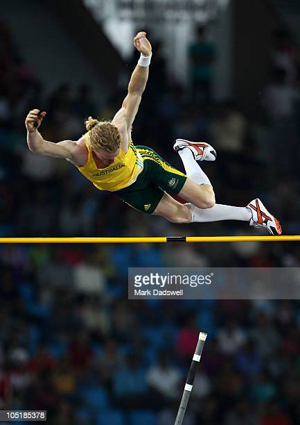 Steve Hooker of Australia competes in the men's pole vault final at Jawaharlal Nehru Stadium during day eight of the Delhi 2010 Commonwealth Games on...