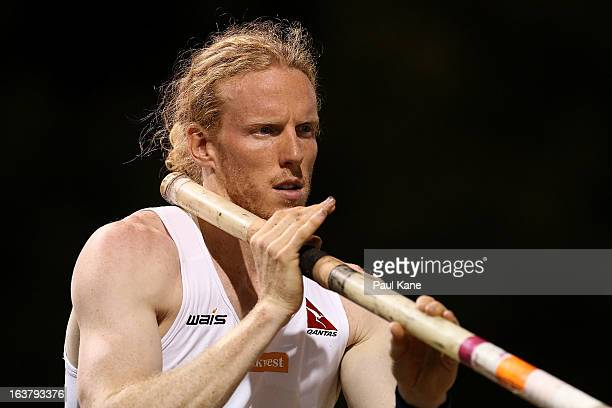 Steve Hooker of Australia prepares to vault in the mens open pole vault during the Perth Track Classic at the WA Athletics Stadium on March 16 2013...