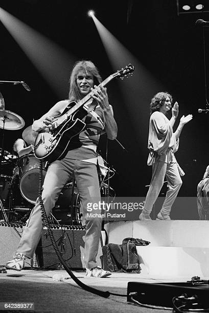 Steve Howe and Jon Anderson performing with English progressive rock group Yes at Madison Square Garden New York City September 1978 The band played...