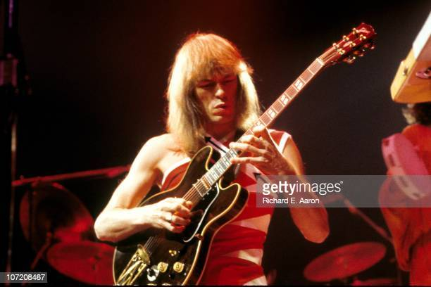 Steve Howe from Yes performs live on stage at Madison Square Garden in New York in September 1978