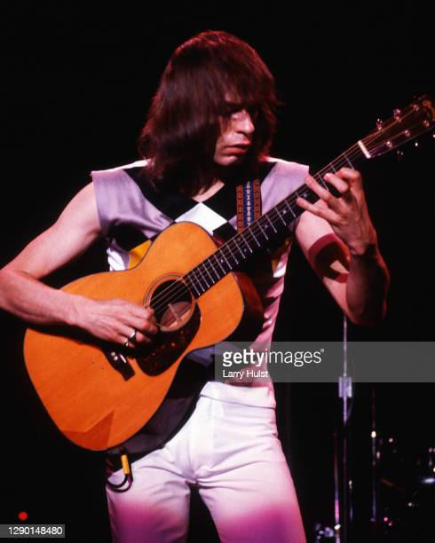 Steve Howe is perform with Asia when the performed at the Stockton Fox Theater in Stockton, California on May 24, 1982.