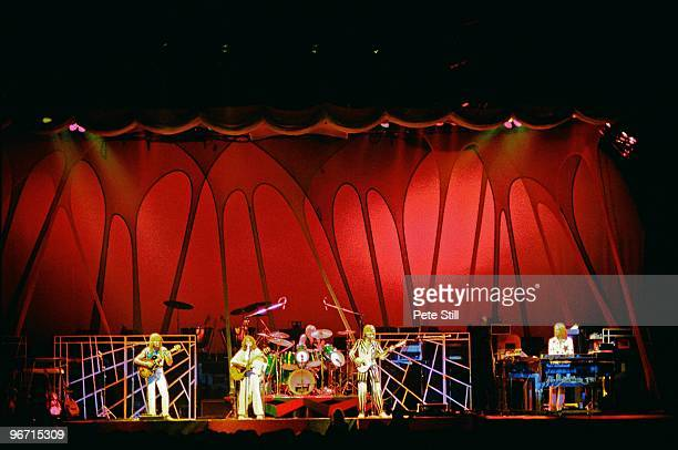 Steve Howe Jon Anderson Alan White Chris Squire and Rick Wakeman of Yes perform on stage on their 'Going For The One' tour at Wembley Arena on...