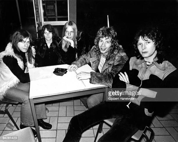 Steve Howe Jon Anderson Rick Wakeman Bill Bruford and Chris Squire of Yes pose for a group portrait on January 23rd 1972 in Rotterdam Netherlands