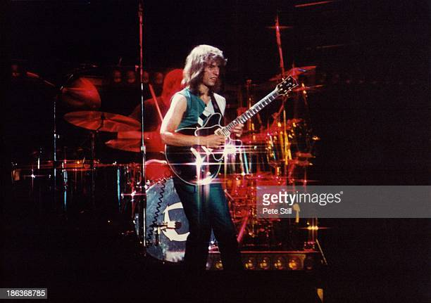 Steve Howe of Asia performs on stage at Wembley Arena on October 28th 1982 in London England