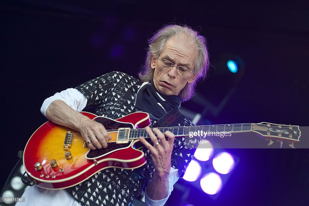 Steve Howe of prog rock band Asia performs on stage during