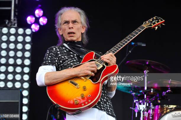 Steve Howe of Prog Rock band Asia performs on stage during the first day of High Voltage Festival 2010 at Victoria Park on July 24 2010 in London...