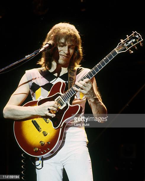 Steve Howe performing with 'Asia' at the Stockton Civic Center in Stockton, California on January 1, 1981.