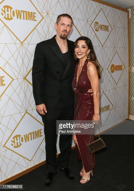 Steve Howey and Sarah Shahi attend the Showtime Emmy eve nominees celebrations at San Vincente Bungalows on September 21 2019 in West Hollywood...