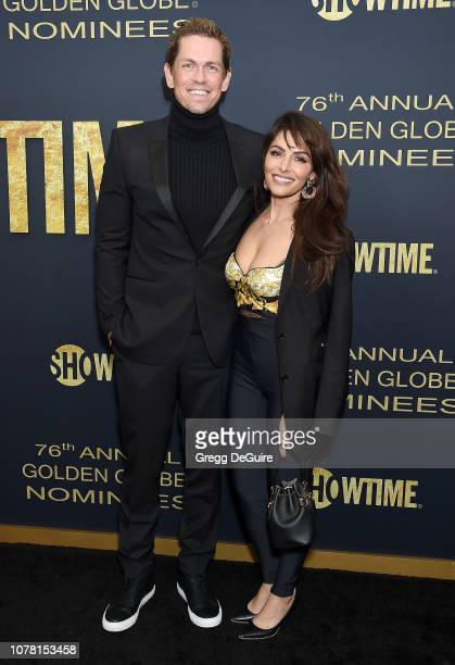 Steve Howey and Sarah Shahi attend the Showtime Golden Globe Nominees Celebration at Sunset Tower Hotel on January 5 2019 in West Hollywood California