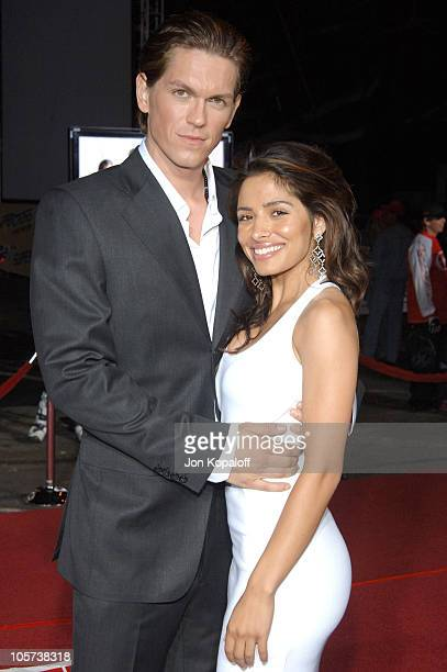 Steve Howey and Sarah Shahi during Supercross Los Angeles Premiere Arrivals at Veterans Administration Complex in Westwood California United States