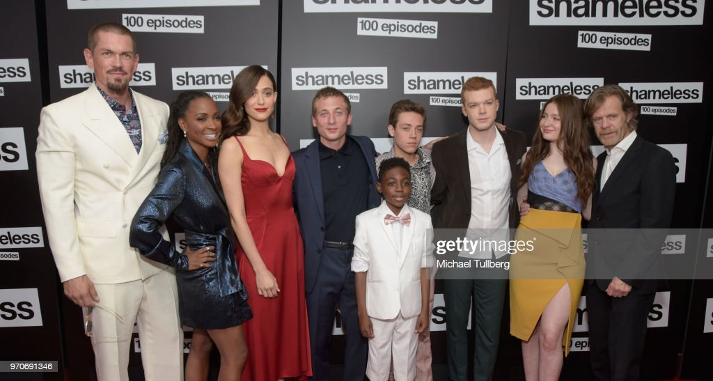 Steve Howey, Shanola Hampton, Emmy Rossum, Jeremy Allen White, Christian Isaiah, Ethan Cutkowsky, Cameron Monaghan, Emma Kenney and William H. Macy attend the celebration of the 100th episode of Showtime's 'Shameless' at DREAM Hollywood on June 9, 2018 in Hollywood, California.