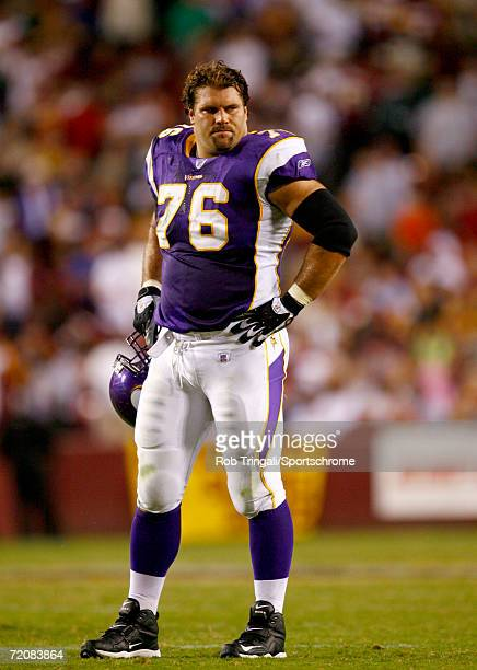 Steve Hutchinson of the Minnesota Vikings stands on the field against the Washington Redskins on September 11, 2006 at FedEx Field in Landover,...